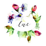Card with title LOVE and flowers Stock Image
