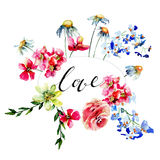 Card with title LOVE and flowers Stock Images