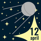 Card to 12 April. Card to Day of Human Space Flight with satellite and stars Stock Photography