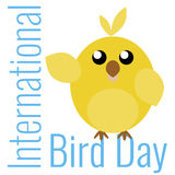 Card to Bird Day. Card to International Bird Day with yellow bird Royalty Free Stock Image