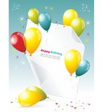 Card to birthday. With balloons Stock Illustration