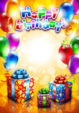 Card to birthday, with balloons and gifts Stock Photography