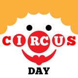 Card to Circus Day. Funny cartoon card to Circus Day with clown Stock Photos