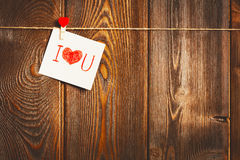 Free Card To Day Of St. Valentine And Red Heart On Wooden Royalty Free Stock Images - 84185559