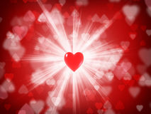 Card to the day of St. Valentine. Postcard to the day of St. Valentine's, heart with rays Stock Photos