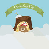 Card to groundhog day. Beginning spring. Vector Stock Photo
