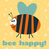 Card to International Day of Happiness. Card with funny cartoon bee to International Day of Happiness with text Bee happy Royalty Free Stock Images