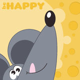 Card to International Day of Happiness. Card with funny cartoon mouse to International Day of Happiness with text Be happy Royalty Free Stock Image