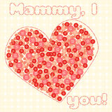 Card to Mother`s Day. With heart Royalty Free Stock Image