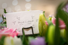 A Card To Mum And Dad At An Anniversary Celebration Party. Stock Photo