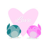 Card to Valentine's Day with hearts. Love Birds. Stock Image