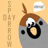 Card to World Sparrow Day. Card with funny cartoon sparrow Royalty Free Stock Photos