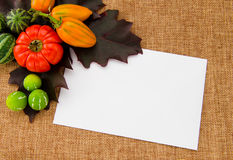 Card to write on a autumn background. Paper to write notes on a autumn background Stock Photo