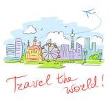 Card travel the world. Vector illustration stock illustration