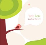 Card with tree and bird. Vector card with tree and bird Royalty Free Stock Image