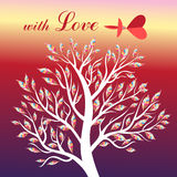 Card with tree and bird in love Royalty Free Stock Image
