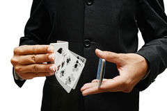 Card tricks. Professional card player, shuffling and  doing tricks with cards Stock Photo