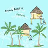 Card with tropical paradise Stock Image