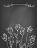Card with tulips on chalkboard