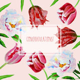 Card with tulips and peonies Stock Photos