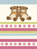 Card with a twins teddy bears Royalty Free Stock Photo