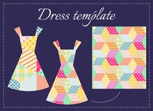 Card with two beautiful summer dresses and patchwork pattern. Stock Photos