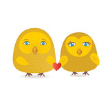 Card with two cute owls on the tree branch.  Royalty Free Stock Photography