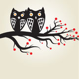 Card with two cute owls on the tree branch Royalty Free Stock Photos
