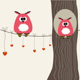 Card with two cute owls on the tree branch Royalty Free Stock Photo