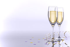 Card with two glasses of champagne Royalty Free Stock Photo