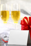 Card with two glasses of champagne Royalty Free Stock Photography