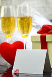 Card with two glasses of champagne Royalty Free Stock Images