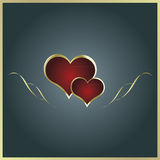 Card with two heart. Card with two red heart Royalty Free Stock Photography