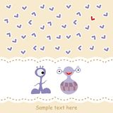 Card with two monsters in love Royalty Free Stock Images