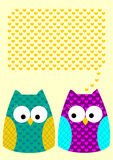 Owls love message greeting card with hearts Stock Photos