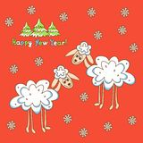 Card two sheep for the new year Stock Image