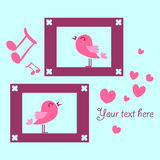 Card with two singing birds Royalty Free Stock Images