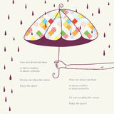 Card with umbrella funny design Royalty Free Stock Photo