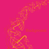 Card with umbrella. On pink background Stock Photography