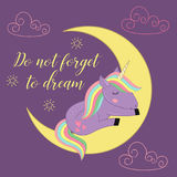 Card with unicorn on the moon. Vector illustration, eps Royalty Free Stock Photo