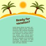 Card about vacation with a tropical island background. Royalty Free Stock Photography