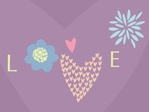 Card for the Valentine day. The stylised word love for the Valentine day Stock Photo