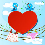 Card on valentine day with heart and women's and Royalty Free Stock Photo