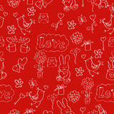 Card for Valentine Day. A seamless pattern Valentine's day with the hare, letter, flower, heart, gift paper or fabric Royalty Free Stock Photography