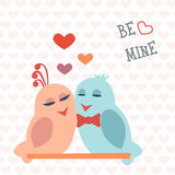 Card for Valentine's Day. Birds. Heart. Be mine. Vector. Illustration Stock Photography