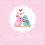 Card for Valentine's Day. Birds. Heart.. Illustration Stock Images