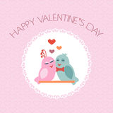 Card for Valentine's Day. Birds. Heart. Label. Vector. Illustration Stock Photography