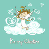 Card for Valentine's Day with cupid Stock Photos
