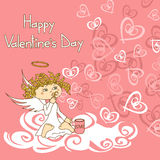 Card for Valentine's Day with cupid and soap bubbles Stock Photography