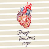 Card for Valentine`s Day in the form of abstract anatomy of the heart. With the inscription Royalty Free Stock Image